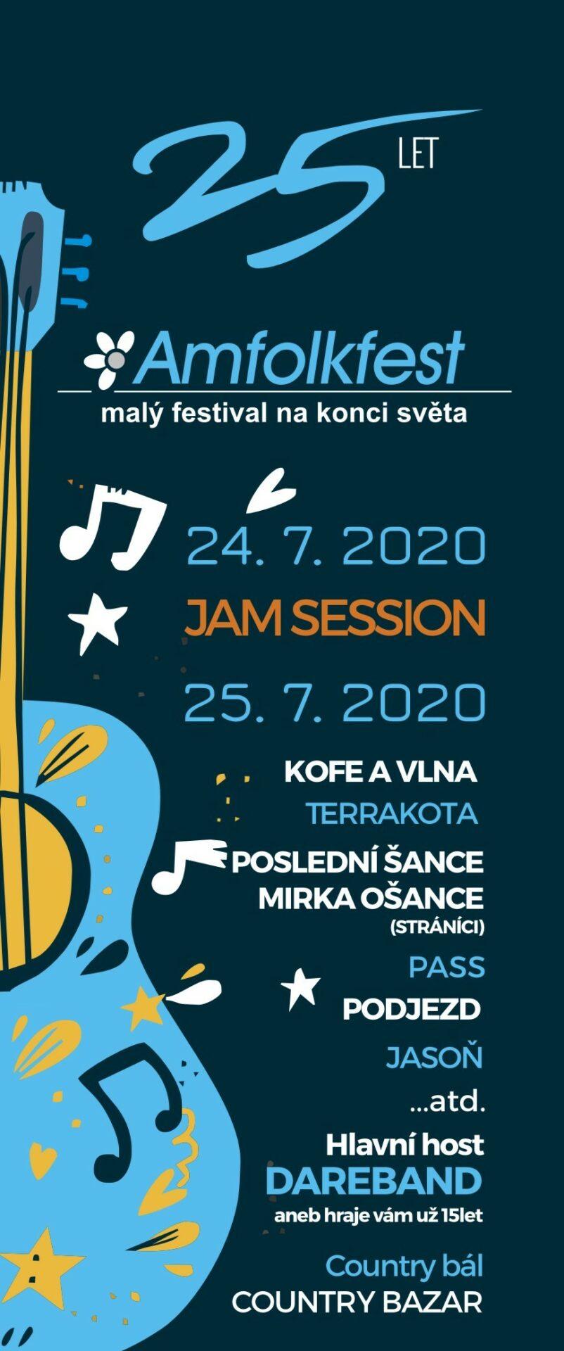 Plakát na 25. ročník festivalu na konci světa Amfolkfest